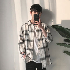 Ripped Boy Plaid Flannel in White