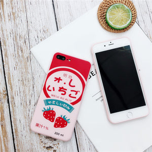 Kawaii Strawberry Milk Phone Case