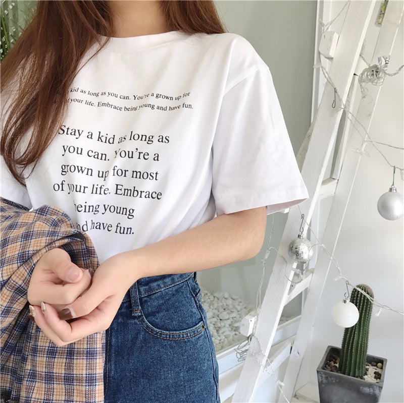 """Stay A Kid As Long As You Want"" Tee in White"