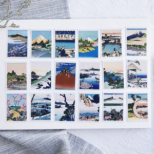 Japanese Mountain + Wave Paper Postage Stickers