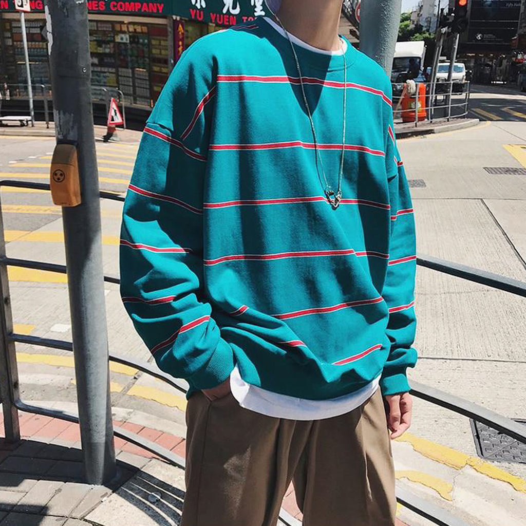The Perfect Oversized Striped Crewneck in Turquoise