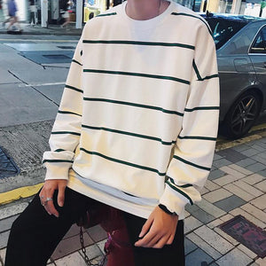 The Perfect Oversized Striped Crewneck in White
