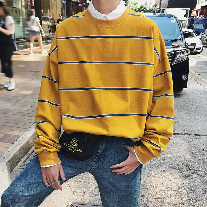 The Perfect Oversized Striped Crewneck in Yellow