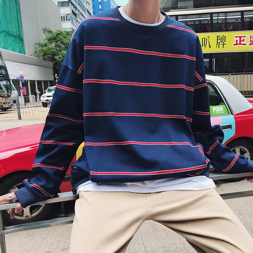The Perfect Oversized Striped Crewneck in Navy