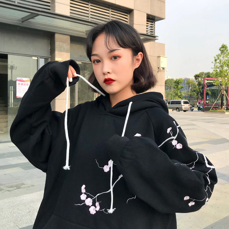 Cherry Blossom Hoodie in Black