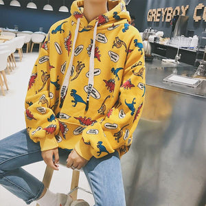 Dinosaur Party Hoodie in Yellow