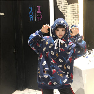 Dinosaur Party Hoodie in Blue