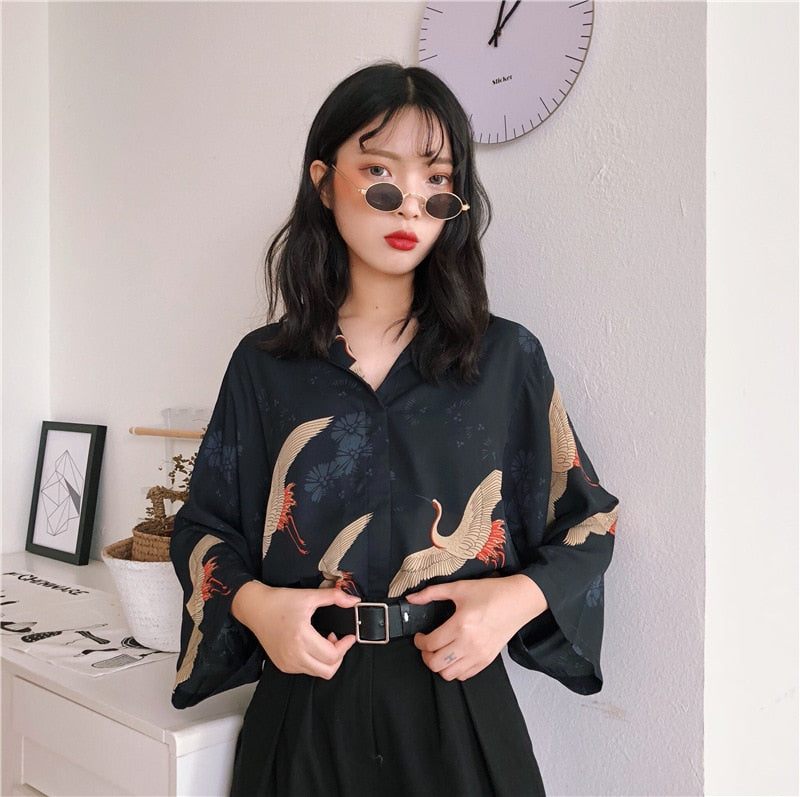 Harajuku Vintage Flying Cranes Blouse