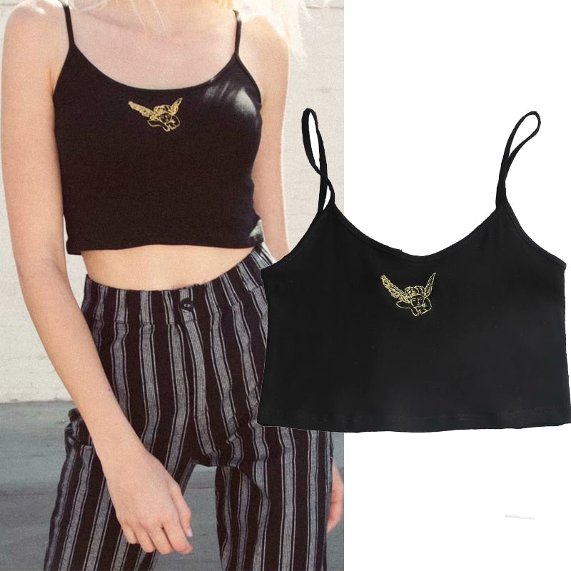 Embroidered Angel Crop Top