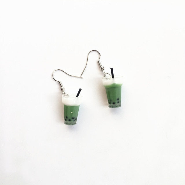Matcha Boba Drop Earrings