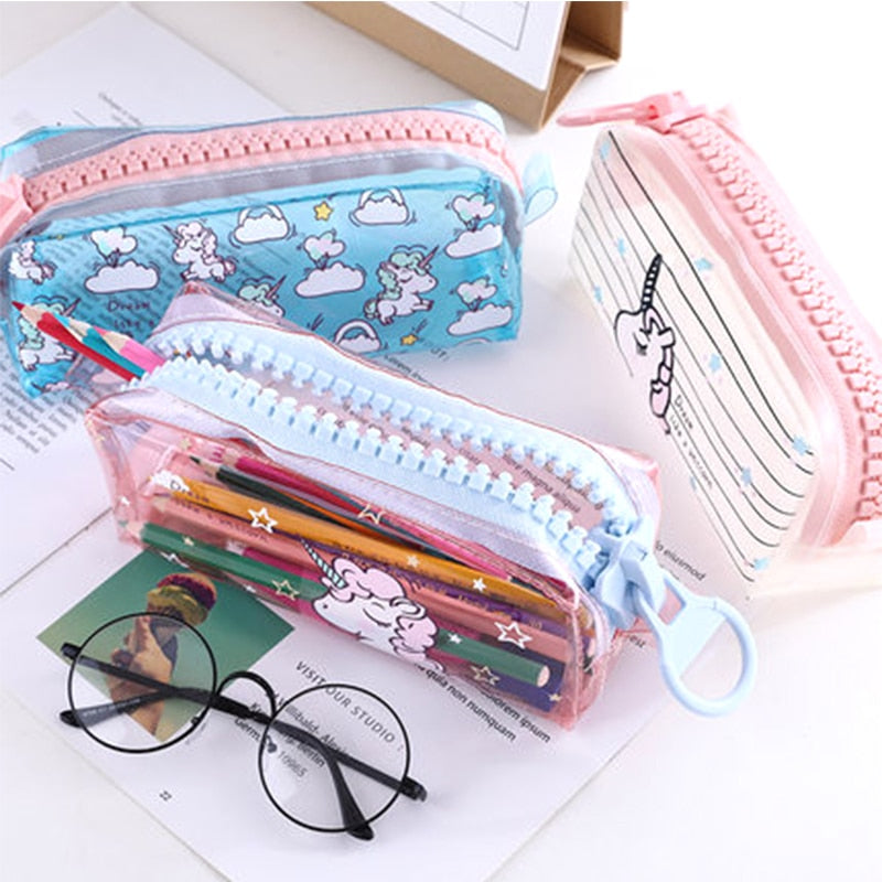 Kawaii Unicorn Pencil Case with Big Zipper