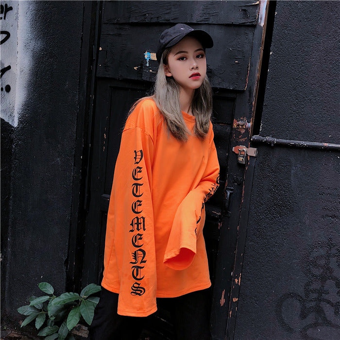 Gangnam Orange Oversized Long Sleeve