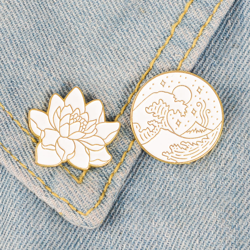 Japanese Hokusai Wave and Lotus Pins