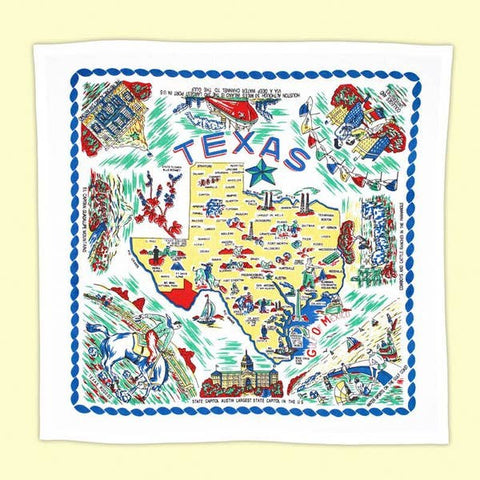 Yellow Texas Map Towel