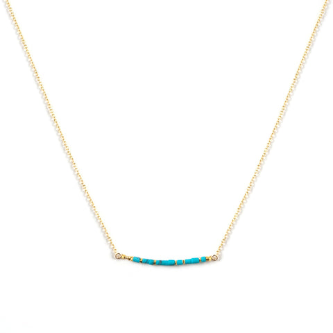 Nina Turquoise Heishi Bar Necklace