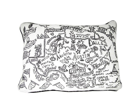 Black & White Texas Pillow