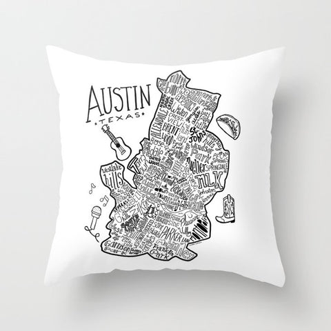 ATX Illustrated Map Throw Pillow