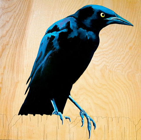 Grackle #4 Wood Block Painting