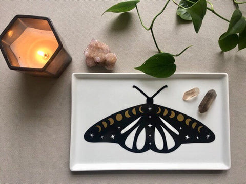 Cosmic Moth Moon Phases Witchy Decorative Tray