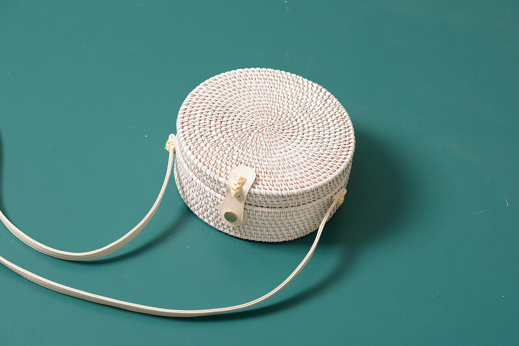 Solid White Rattan Bag
