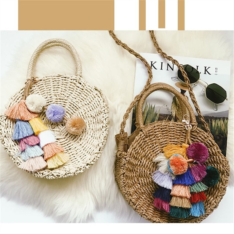 Pom Tassel Beach Bag