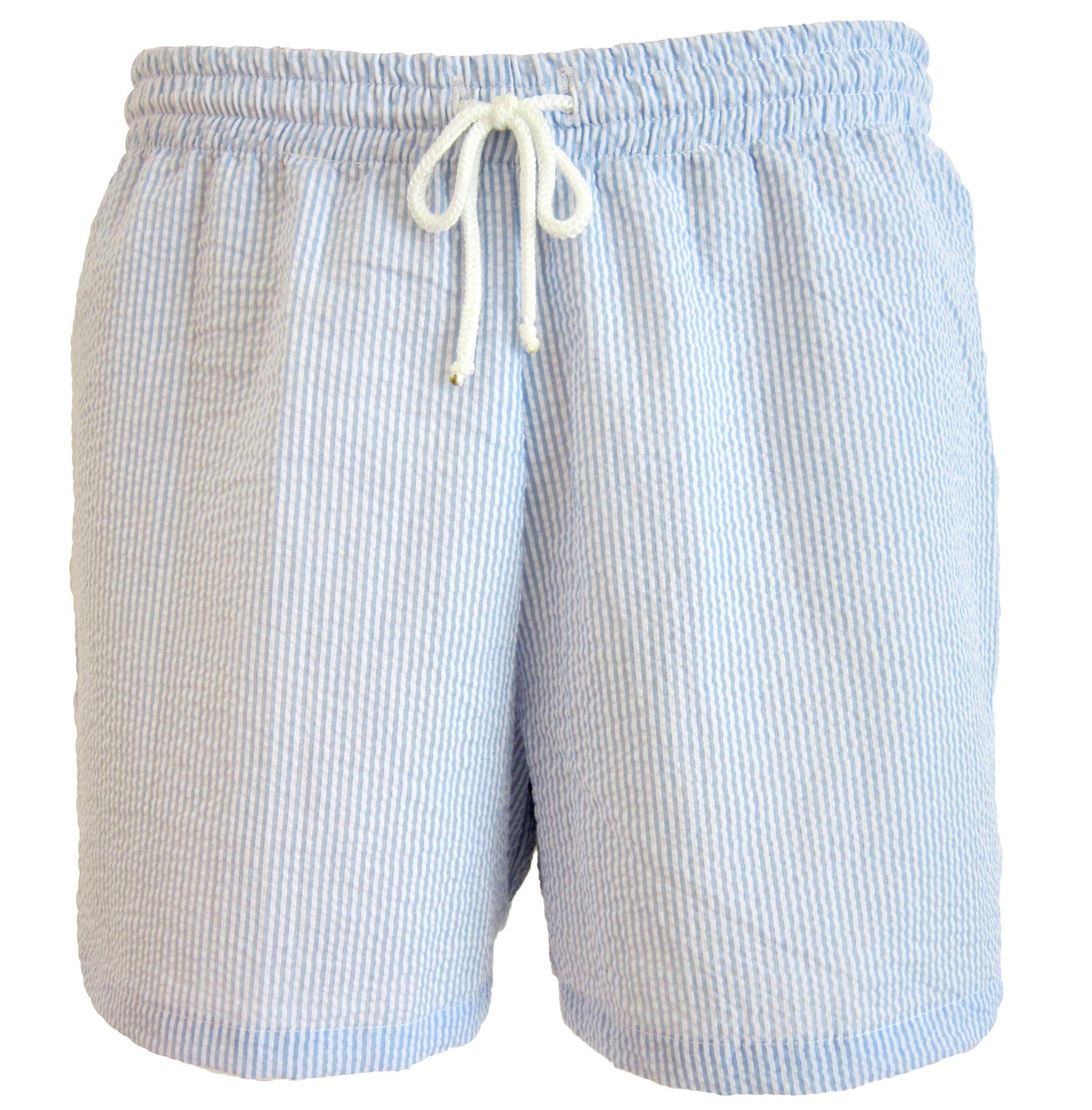 Blue Seersucker Swim Trunks