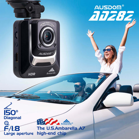 Ausdom AD282 Car Dash Cam with Ambarella A7 Processor 1296P