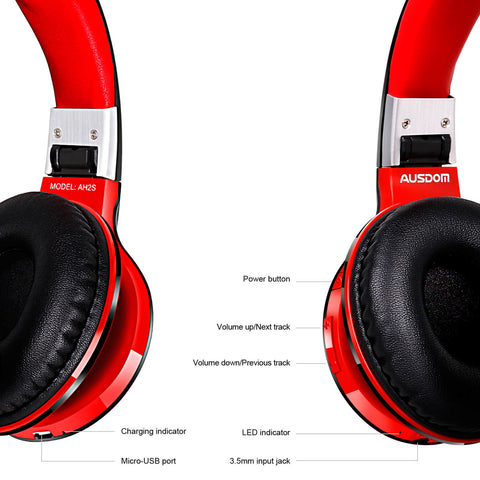 Ausdom AH2S Wireless Bluetooth Headphones with Mic