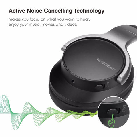 AUSDOM ANC8 Active Noise Cancelling Over-Ear Bluetooth Headphones