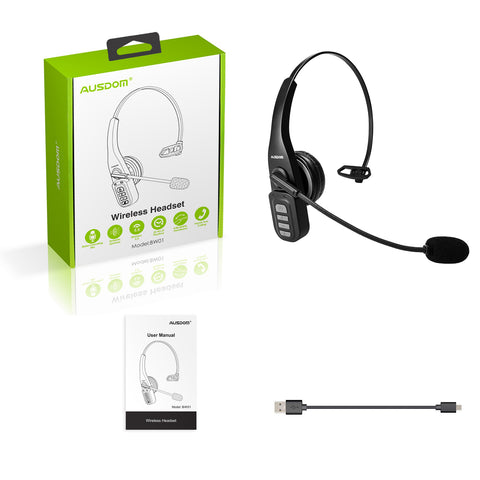 AUSDOM BW01 Bluetooth 5.0 Phone Headset, Business Headset with Noise Cancelling Mic Hands-Free Wireless Headset for Office Skype Call Center