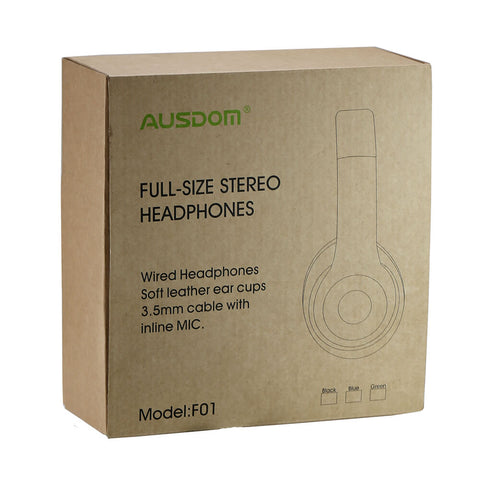 AUSDOM F01 Over-Ear Wired HiFi Stereo Headphones with Built-in Mic