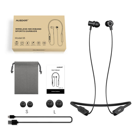 AUSDOM S5 Sweatproof Wireless Sport Neckband Bluetooth Earphones
