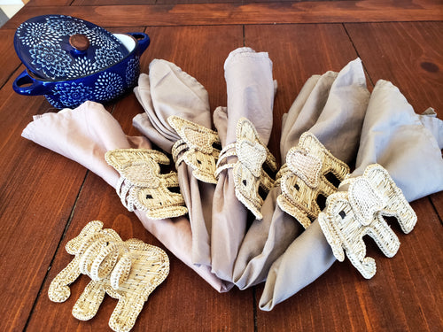Iraca Handmade Elephant Napkin Rings Wholesale