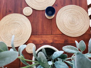 Iraca Palm Solid Placemats with Coasters