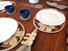 Load image into Gallery viewer, Oval Multicolored Iraca Palm Placemats with Coasters Wholesale