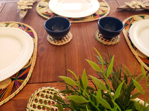 Oval Multicolored Iraca Palm Placemats with Coasters