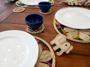 Oval Multicolored Iraca Palm Placemats with Coasters Wholesale