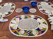 Load image into Gallery viewer, Oval Multicolored Iraca Palm Placemats with Coasters