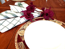Load image into Gallery viewer, Iraca Palm Woven Round Burgandy and Natural Placemats with Coasters Wholesale