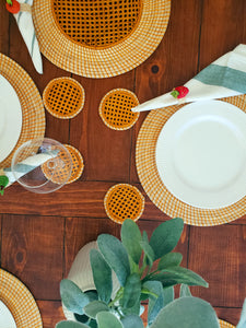 Iraca Palm Woven Burnt Orange Placemats with Coasters Wholesale