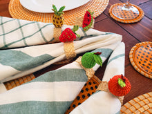 Load image into Gallery viewer, Tropical Fruits Iraca Handmade Colorful Napkin Rings