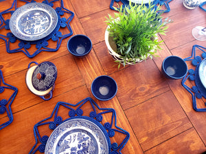 Blue Star Iraca Palm Woven Placemats with Coasters Wholesale