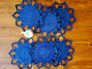 Blue Star Iraca Palm Woven Placemats with Coasters