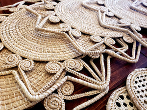 Natural Star Iraca Palm Woven Placemats with Coasters