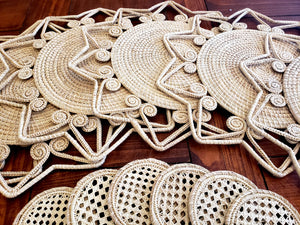 Natural Star Iraca Palm Woven Placemats with Coasters Wholesale