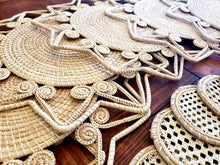 Load image into Gallery viewer, Natural Star Iraca Palm Woven Placemats with Coasters