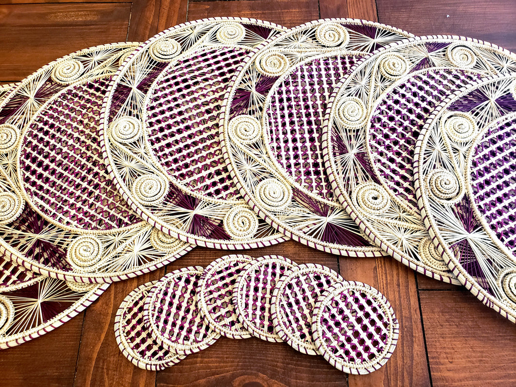Iraca Palm Woven Round Burgandy and Natural Placemats with Coasters Wholesale