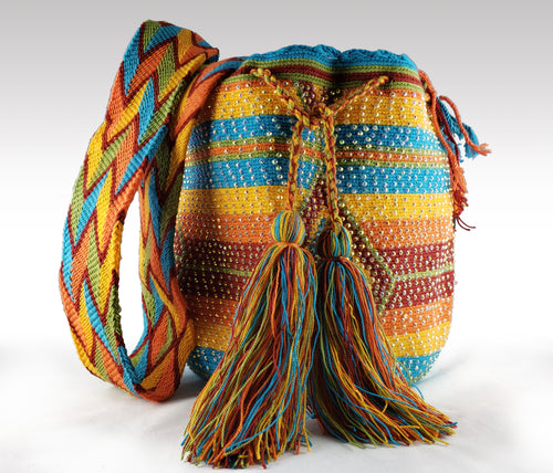 Alexa - Wayuu Authentic Mochila Bag with Crystals