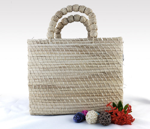 Anabelle - Iraca Palm Authentic Handmade Handbag with tan handle Wholesale