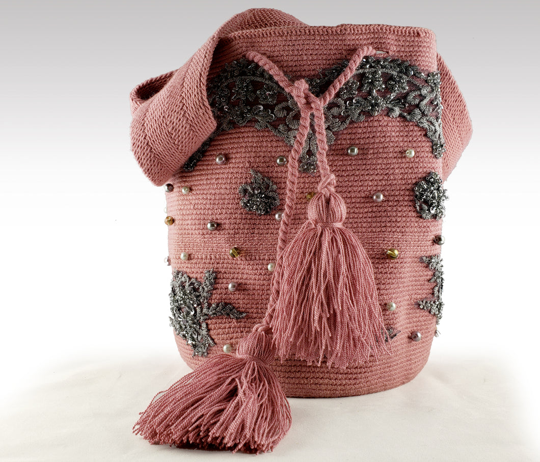 Franchesca - Wayuu Mochila with pearls, embroidered and sequins accents